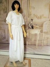 ORA FEDER vintage WHITE with Sheer Feathers Polyester Peignoir Set size S small