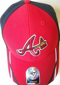 ATLANTA BRAVES KIDS YOUTH ADJUSTABLE RED AND BLUE CAP HAT WITH A/TOMAHAWK LOGO
