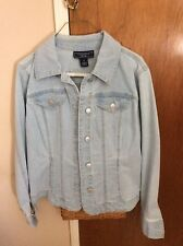 Womens Denim Jacket Charter Club Medium New With Tags Front and Cuff Buttons