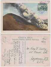 COSTA RICA 1930 Sc 150 ON PPC IRAZU VOLCANO IN ERUPTION SAN JOSE TO SYRACUSE, NY