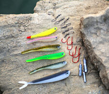 1 Drop Shot KIT Inc Soft Shad Minnow Bait Hooks Weight For Perch Walley Fishing