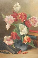 OLIO SU TELA CON CORNICE - TULIPANI - FIRMATA Ch. MAIRET - 1901 - 61 x 50 cm