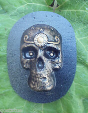 """Day of dead skull mold plaster cement mould 6"""" x 3.5"""" x up to 1"""""""