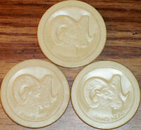 Old Lot 3 RAM HEAD Embossed Casino Poker Chips Vintage Antique PA-RM White VG
