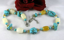 Chunky Turquoise & Calcite Beaded Necklace CAT RESCUE