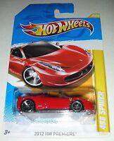 Red 2012 Ferrari 458 Spider HW Premiere Hot Wheels 25/50 1:64 Scale - Bilingual