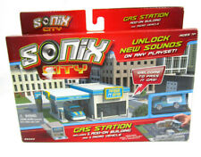 Sonix City Micro Gas Station Interactive Playset with Mini Car Sounds Kids Toy
