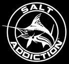Salt Addiction Decal,Marlin fishing sticker,deep sea fishing,rod,reel,life
