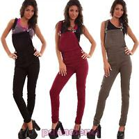 Dungarees woman suit overall entire jumpsuit coloured skinny elastic new YD6320