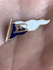 Vintage 10K GOLD TOP .67g E College School Pendant Blue & White Pin NR