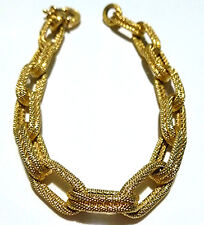 """DESIGNER """"W"""" 14K YELLOW GOLD ELONGATED DOUBLE CABLE CHAIN BRACELET 7.75"""""""