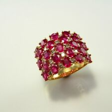 Natural Red Ruby Diamond 14K Gold Wedding Band Ring Engagement Wide Big Cigar