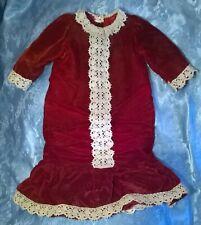 "Vtg 1960's?Velvet Doll Dress For 25"" Antique Doll.Handmade.Crotched Lace Trim.Vg"