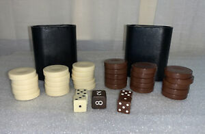 Backgammon Chips Pieces 15 Brown/15 White Chip Dice 2 Cups Replacement Parts Set