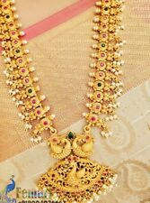 Ornate Indian temple Jewelry Pearl, Stone And Gold Set