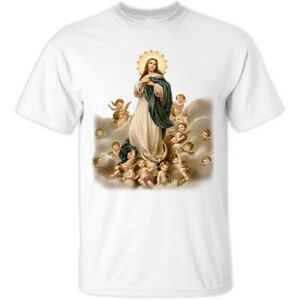 Assumption of Mary V1, Sint Christian Catholic T-Shirt (WHITE) All sizes S-5XL