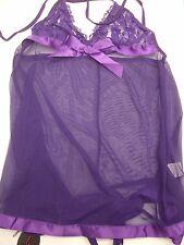 Avidlove Women's Purple Babydoll Sleepwear Sexy Lingerie Lace Nightdress Size M