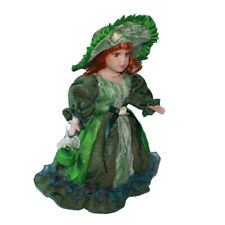 30cm Vintage Porcelain Female Doll People Figure in Green Princ Suit Toy