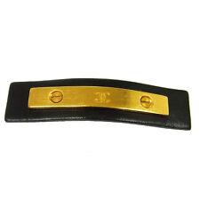 Authentic CHANEL Vintage CC Logos Hair Barrette Black Accessories V14004