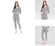 b0949a32a82d7a Warm Essentials Cuddl Duds Small Waffle Thermal Leggings & LS Henley Shirt  Gray