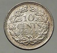 1941 Netherlands Queen WILHELMINA 10 Cents Wreath Authentic Silver Coin i57806