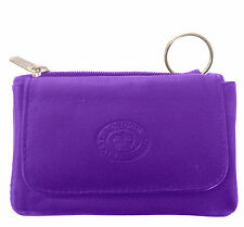 Purple Leather Flapover Change and Card Purse With Keyring - 0961
