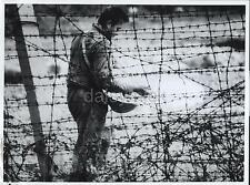 Aug 1961 West Berlin East German Worker Killing Weeds on Border 7x5 Inch Reprint