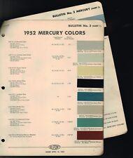 1952 Mercury exterior COLOR CHIP SAMPLE PAINT CHART Brochure