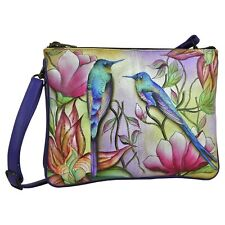 "Anuschka #570 SPP ""SPRING PASSION"" Triple Compartment Cross-Body 10.5""x8""x5"" NWT"
