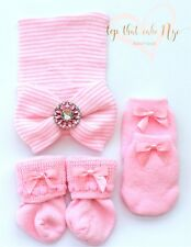 bccb34a88533 Gorgeous Newborn Girl socks mittens hospital big bow beanie set pink baby  girl