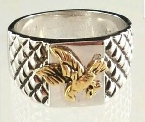 Men's Antique Silver Tone Eagle Cocktail  Ring Size  12 13