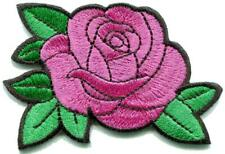 Pink rose flower tattoo diy embroidered applique iron-on patch S-1637
