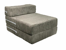 Charcoal Jumbo Cord Single Chair Sofa Z Bed Seat Foam Fold Out Futon Guest Kids