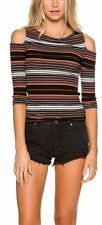 Free People OB543113 'Rory' Cold-Shoulder Striped Top in Black Combo L
