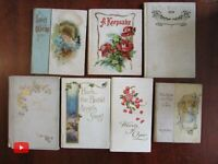 Colorful gift books c.1900-10 era lot of 7 poetry pictorial flowers keepsake che