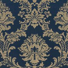 MD29470 - Silk Impressions Damask Blue & Gold Galerie Wallpaper