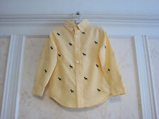 NWT  Janie And Jack  Winter Cabin  Boys Reindeer Oxford Shirt  Top  4 4T  Butter