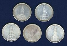 GERMANY THIRD REICH  1934-D-E-F-G-J   5 REICHSMARK SILVER COINS, LOT OF (5)