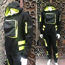 Men's Black   Lime Green Fashion Fleece Hooded Sweatsuit