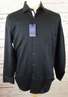NEW Michelsons Of London Men's Slim-fit Black Textured Dress Shirt Med $75.00