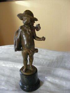 Franz Iffland Bronze Skulptur Junge auf schwarz grünem Marmor-Sockel Roma 1887