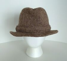 9a0393fe7ff Vintage Harris Tweed Brown Hand Woven 100% Scottish Wool Hat