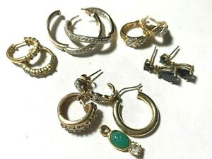 Assorted Gold Plated Sterling Silver Earrings 4 pair bonus pieces - CZ SS-221