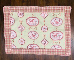 "Vintage Giraffe Elephant Monkey Camel 28""x38"" Baby Crib Pad Quilt"