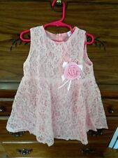Sweet Sleeveless Polyester Flower Embellished Solid Pink Girl's Lace Dress 5T