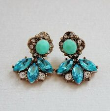 Rings`Ears Flower Blue Class Retro Vintage Style Evening Marriage DD 3