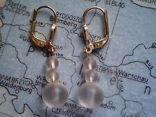 Ohrhänger Gold 333 mit Bergkristall eismatt, Bergkristall Ohrhänger Gold 333