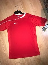 Under Armour Xl Youth Soccer Boys Loose Fit Shirt Red White New With Tags $30