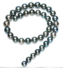 stunningAAA 11-12mm tahitian black green pearl necklace 18inch 14k