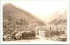 WALLACE, Idaho RPPC Postcard Downtown Bird's-Eye View TABOR Photo / 1940 Cancel